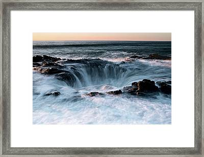 Framed Print featuring the photograph Thor's Well Sunset 101818 by Rospotte Photography