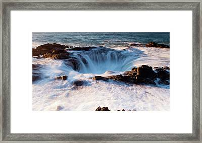 Framed Print featuring the photograph Thor's Well V3 101818 by Rospotte Photography