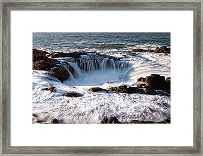 Framed Print featuring the photograph Thor's Well Yachats Oregon 102518 by Rospotte Photography