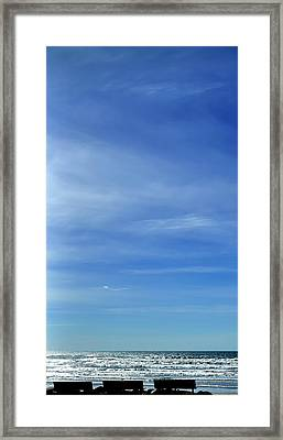 Framed Print featuring the photograph Three Benches At The Coast by Jerry Sodorff