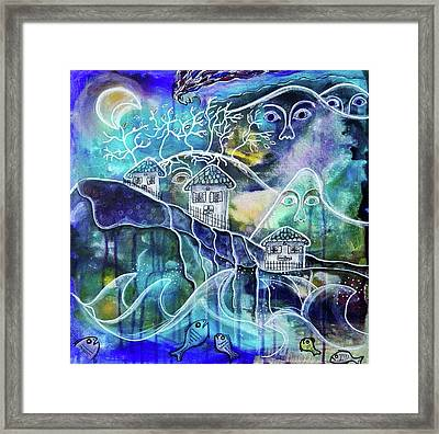 Three Houses On A Cliff Framed Print