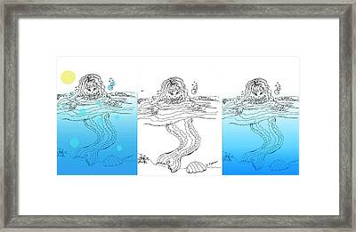 Three Mermaids All In A Row Framed Print
