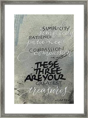 Three Treasures Framed Print