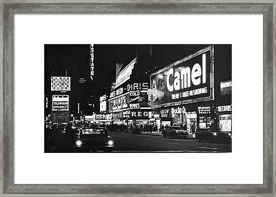 Times Square At Night Framed Print by Fred W. McDarrah