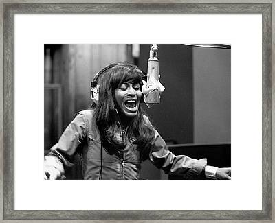 Tina Turner Recording Session Framed Print by Michael Ochs Archives