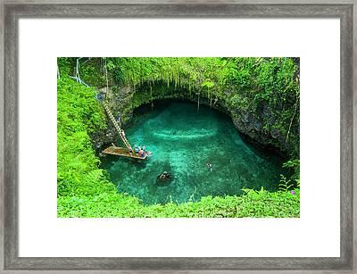 To Sua Ocean Trench In Upolu, Samoa Framed Print by Michael Runkel / Robertharding