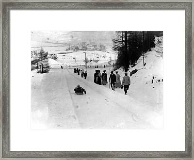 Tobogganing Slope Framed Print by Topical Press Agency