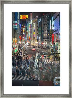 Tokyo Shibuya Crossing Crowds Of People Framed Print by Fotovoyager
