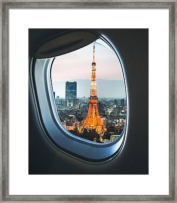 Tokyo Skyline With The Tokyo Tower Framed Print by Franckreporter