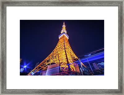 Tokyo Tower By Night Framed Print by Shingo Tamura