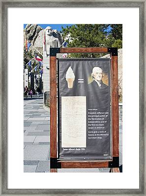 Framed Print featuring the photograph Tomas Jefferson's Ice Cream Recipe At Rushmore Monument by Tatiana Travelways