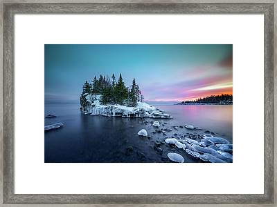 Framed Print featuring the photograph Tombolo Sunset Show / Lake Superior, Minnesota  by Nicholas Parker