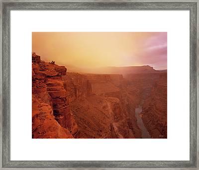 Toroweap Overlook Storm Sunrise Framed Print by Leland D Howard