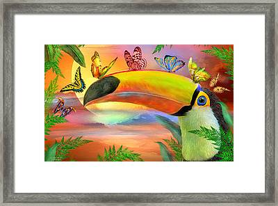 Framed Print featuring the mixed media Toucan And Butterflies by Carol Cavalaris