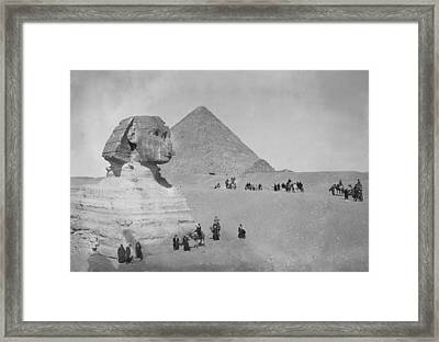 Tourists At Giza Framed Print by Topical Press Agency