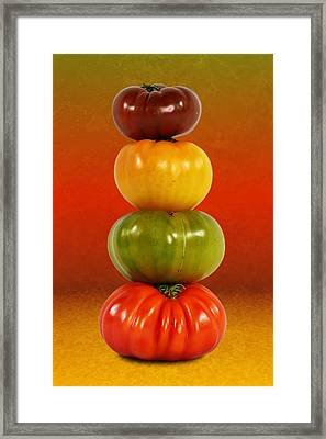 Tower Of Colorful Tomatoes Framed Print