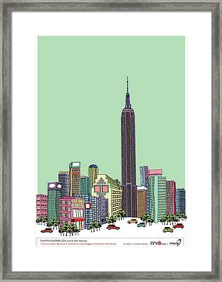Tower With Buildings Against Clear Sky Framed Print by Eastnine Inc.