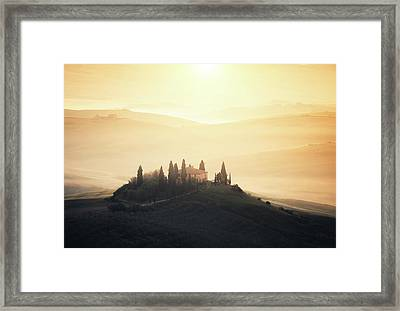 Traditional Tuscan Farmhouse At Sunrise Framed Print by Borchee