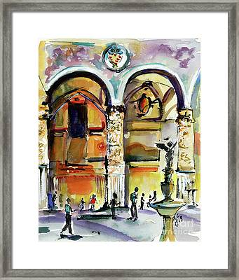 Framed Print featuring the painting Travel Italy Florence Impressions by Ginette Callaway