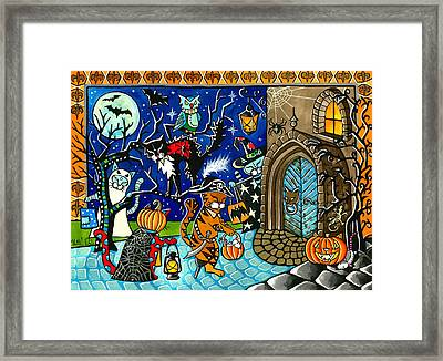 Trick Or Treat Halloween Cats Framed Print
