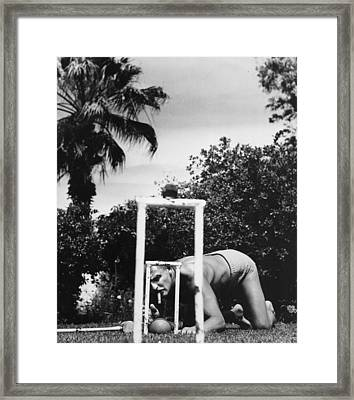 Tricky Shot Framed Print by Slim Aarons