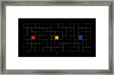 Framed Print featuring the digital art Tricolor In Black by Attila Meszlenyi