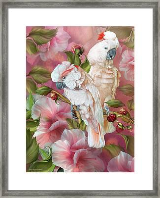 Framed Print featuring the mixed media Tropic Spirits - Cockatoos by Carol Cavalaris
