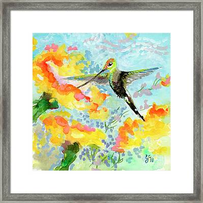 Framed Print featuring the painting Tropical Hummingbird by Ginette Callaway