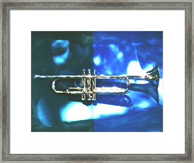 Trumpet, Blue Framed Print by Claire Rydell