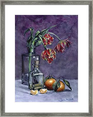 Tulips And Oranges Framed Print