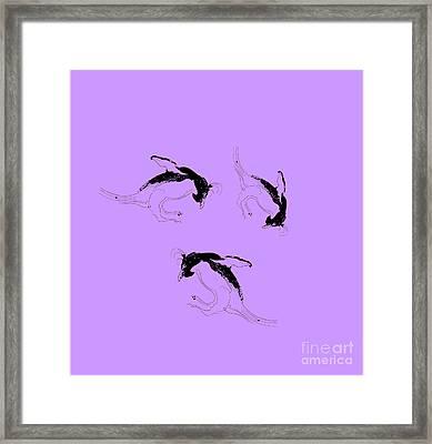 Tumbling Penguins Framed Print