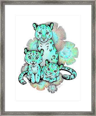 Turquoise Leopards Framed Print