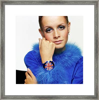 Twiggy In Blue With Union Jack Watch Framed Print by Bert Stern