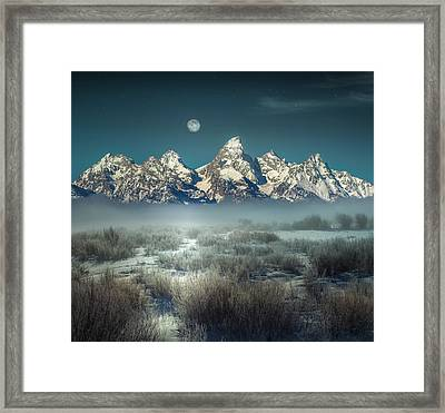 Framed Print featuring the photograph Twilight Glow / Grand Tetons  by Nicholas Parker