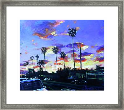 Twilight At Figueroa And 40th  Framed Print