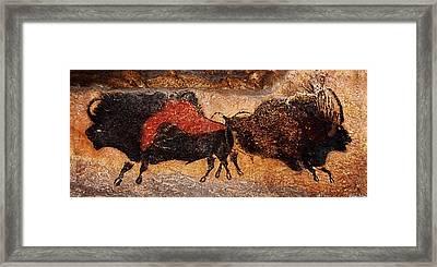 Two Bisons Running Framed Print