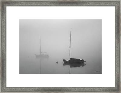 Framed Print featuring the photograph Two Boats And Fog II Bw by David Gordon