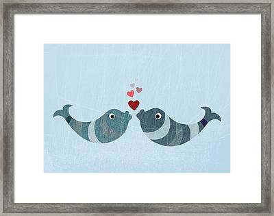 Two Fish Kissing Framed Print by Fstop Images - Jutta Kuss