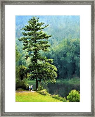 Two Guys And A Pond Framed Print
