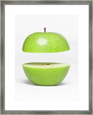 Two Parts Of Apple With Copyspace Framed Print by Jazzirt