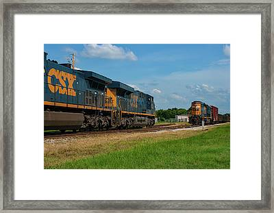 Framed Print featuring the photograph Two Trains Pass 21 by Joseph C Hinson Photography