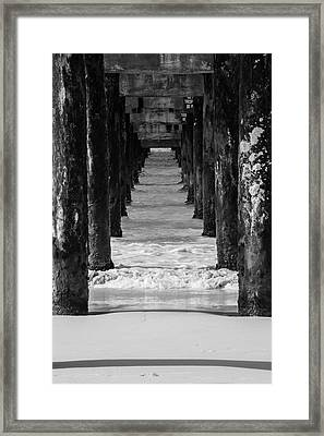 Under The Pier #2 Bw Framed Print
