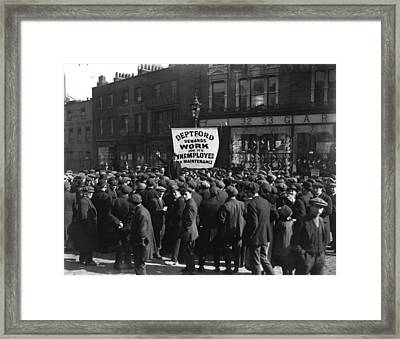 Unemployment Rally Framed Print by Central Press