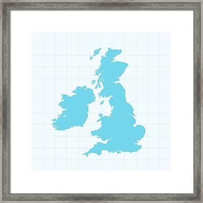 United Kingdom Map On Grid On Blue Framed Print by Iconeer