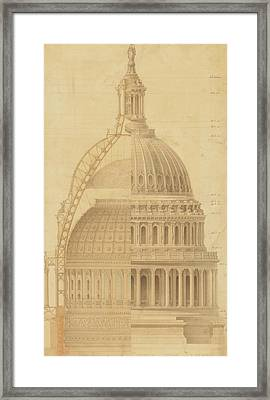 United States Capitol, Section Of Dome, 1855 Framed Print