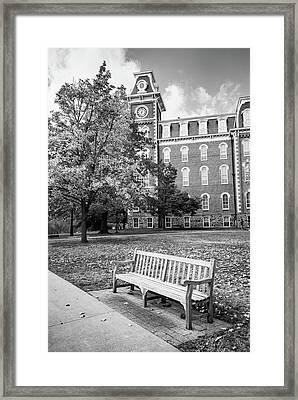 University Of Arkansas Autumn At Old Main - Black And White Framed Print