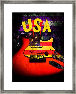 Framed Print featuring the digital art Usa Flag Guitar Purple Stars And Bars by Guitar Wacky