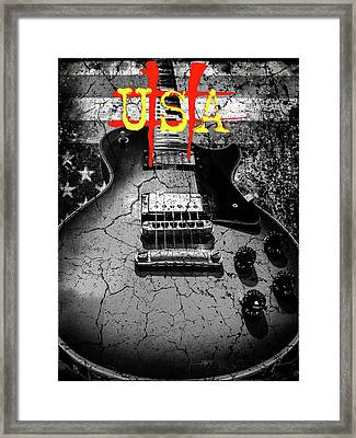 Framed Print featuring the digital art Usa Flag Guitar Relic by Guitar Wacky