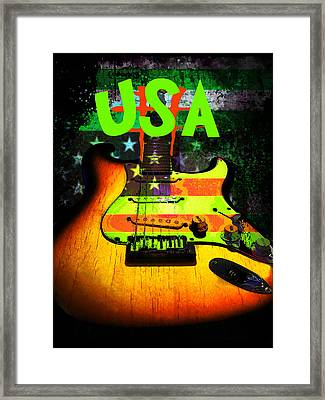 Framed Print featuring the digital art Usa Strat Guitar Music Green Theme by Guitar Wacky