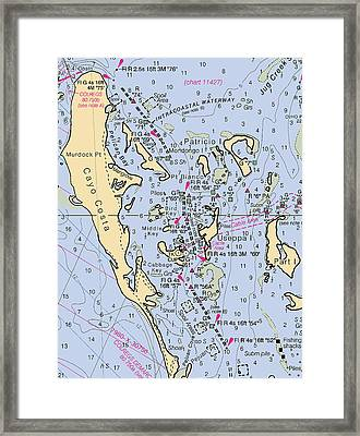 Useppa,cabbage Key,cayo Costa Nautical Chart Framed Print